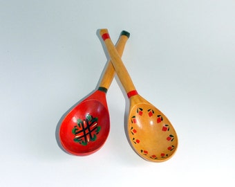 Wooden Spoon. Vintage Wooden Spoon. Hand Painted Wooden Spoon, Painted Spoon. Khokhloma Folk style. 2 Wooden Spoon, kitchen rustic decor