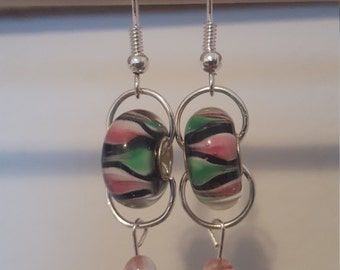 Green and Pink Murano glass bead earrings