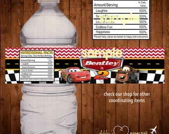 CARS Water Bottle Label- Digital File