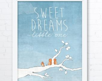 Sweet Dreams Nursery Decor - Orange and Blue Woodland Birds Nursery Art Print, Woodland Animals, Childrens Room Decor