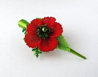 Hair clip flower. clip red  barrette. red hair clip.ukrainian jewelry red hair clip ukrainian craft gift