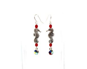 Seahorse Earrings - Nautical Earrings - Silver Seahorse Earrings - Ocean Lover Earrings