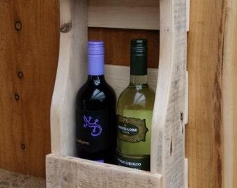 Rustic wine rack/ bottle holder with shelf - pallet wood wine storage