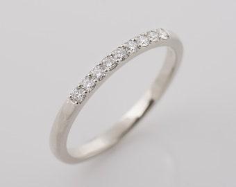 9 Diamond Ring, 14K White Gold Diamonds band, 2 mm Diamonds Band, Anniversary Ring, Wedding Diamond Band, Pave Ring, Shared Prong Ring