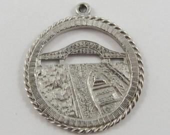 International Bridge Sault Ste. Marie Ontario Sterling Silver Vintage Charm For Bracelet