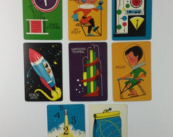 8 Outer Space Vintage 1950s Children's Picture Flash Cards