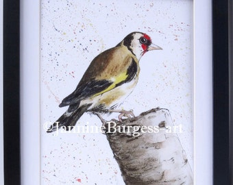 GOLDFINCH painting. GICLEE PRINT taken from my Original artwork Watercolour Painting Garden Birds colection.