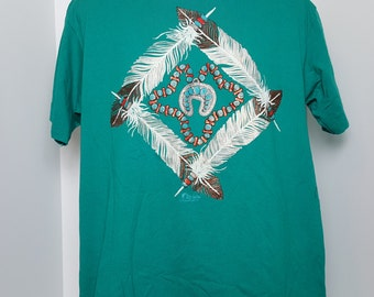 Vintage 80's Native American Jewelry Tuquoise Feather Graphic T Shirt Mens L