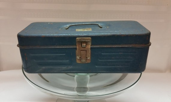 Vintage Metal Tackle Box Cool Blue Color With Great Rustic