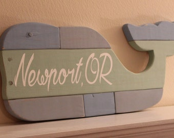 Wooden Whale - Wall Art - Reclaimed Pallet Whale - Text Whale - Nautical Girls Nursery