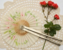 French Cockade Hand Fan. Antique French Painted Linen Round Folding Hand Fan. French Boudoir Wall Décor