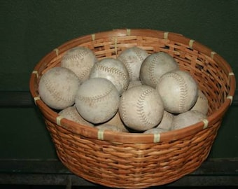 Vintage Basket of Soft Balls and 4 Bases