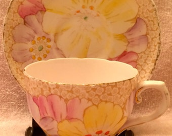 1940s Tuscan Fine English Bone China Tea Cup and Saucer Yellow and Pink Flowers Gold Trim