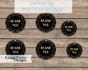 Digital Thank You Tags, Roaring 20's Thank You Tags, Great Gatsby Favor Tag, Roaring Twenties, Birthday Party, Art Deco Party, Favor Tag