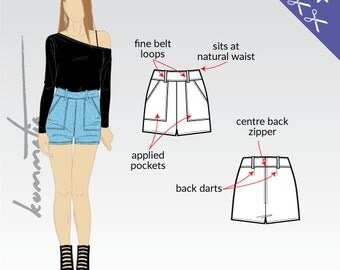 """High waist shorts with pockets and belt loops 5cm 2"""" inseam / Sewing pattern PDF for twill fabrics denim"""