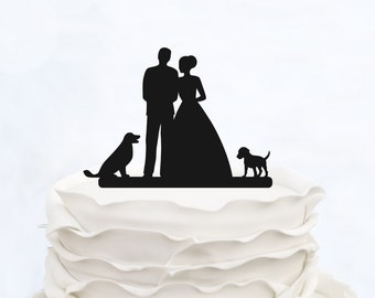 Wedding Cake Topper With two Dogs_Bride And Groom Couple Silhouette__Custom Cake Topper_heart Cake Topper_elegant cake topper