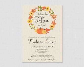 Pumpkin Bridal Shower Invitation Printable or Printed - Rustic Fall Bridal Shower Invite - Autumn Wedding Shower w/ Pumpkin and Burlap 0019
