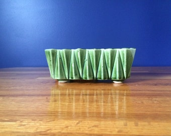 Vintage Ungemach Planter with Raised Triangular Shapes / Mid Century Dark Green Geometric UPCO Pottery