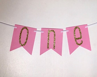 Pink And Gold High Chair Banner, Pink And Gold Photo Prop, High Chair Banner, Birthday Banner