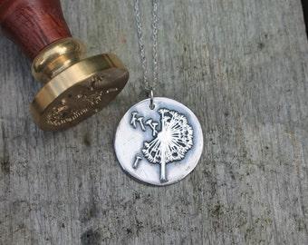 Dandelion fine silver wax seal pendant