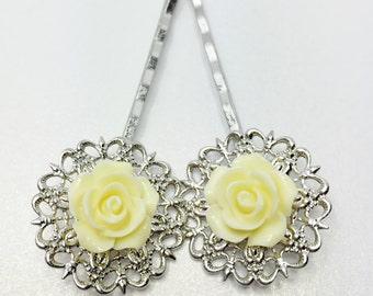 Lemon Rose Bobby Pins Filigree Flower Clips Lemon Bridesmaid Gift Lemon Prom Hair Accessory Pretty Flower Girl Gift Lemon Bridal Party