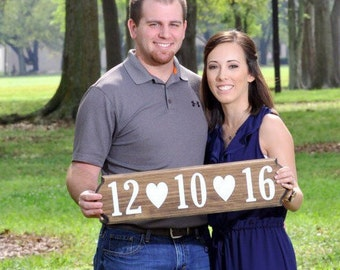 rustic wooden wedding date sign - engagement photo prop, wedding, bridal shower