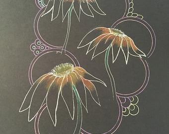 zentangle cone flowers, flower art,zentangle flowers,colored flowers,zentangle art,ink gel pens,black paper art,