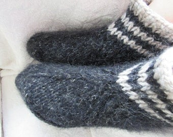 Black hand knit slippers, sheep wool,mohair wool slippers / bed socks, thick, cozy and warm.UK 4-11. Kozizake.