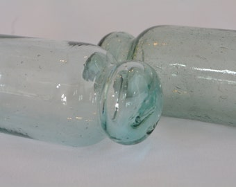 Pair of Rolling Pin Vintage Japanese Glass Fishing Floats