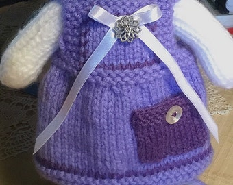 Made to Order-Hand Knitted Pinafore Dress for Knitted Bunny