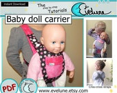 Baby doll carrier pattern / PDF / English pattern / baby doll holder / doll accessories / pretend play baby carrier/ Evelune