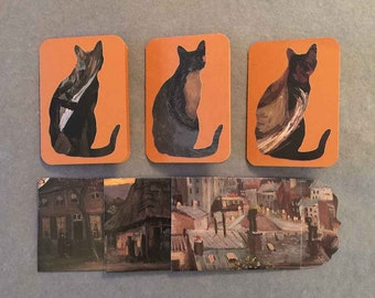 Upcycled Cat Cards & Handmade Envelopes - Set of 3