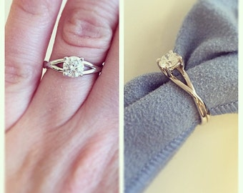 Unique Solitaire Ring, 14K Ring, 14K Solitaire Ring, Wedding Band, 14K Wedding Ring, Solitaire Ring, 14K Engagement Ring, Engagement Ring