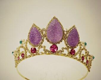 SALE Rapunzel Purple Tiara,Rapunzel Crown, Tangled Crown, Tangled Tiara ,Princess Rapunzel, Gold Tiara, Rapunzel Costume ,Tangled Costume