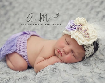Newborn Vintage   lavender tiara Headband - Ruffle Bloomers - shower gift - crochet  Lace Diaper Cover -baby girl Outfit - Weddings