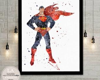 Nursery prints, Superman prints, Super Hero prints, superman prints, Batman prints, Watercolor print, Room Decor,