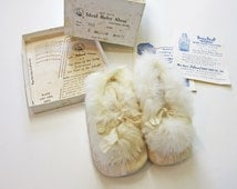 Vintage Cream Rabbit Fur-Lined Quilted Baby Booties in Original Box