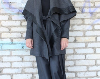 Maxi Trench Coat / Wool Extravagant Grey Coat / High Quality Cashmere Coat / Hooded Grey Blazer by Fraktura C0003