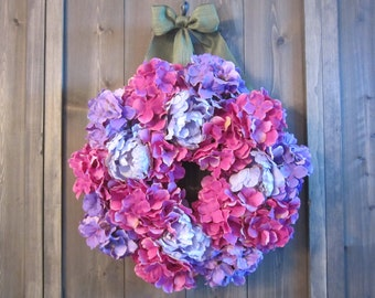 Pink and purple hydrangea wreath - Spring wreath