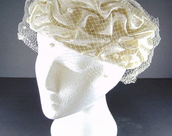 REDUCED - Vintage Ivory and Silver Ruched Hat, Ivory Pillbox Hat 1950/60's