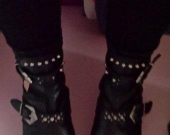 Vintage studded grunge Leather black ankle buckle boots UK Size 5  grunge/punk/Alternative