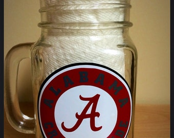 Alabama Crimson Tide Mug, Alabama Mason Jar, Roll Tide Mason Jar, Roll Tide Mug, Crimson Tide Mug, Alabama Football