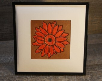 Tooled and Painted Gerber Daisy - Hand tooled and hand painted