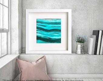 "Beach painting, Acrylic on paper, Ocean Seascape art, Abstract Palette knife Waves, Modern wall art, California beach, beach decor 12""."