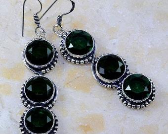 "Green Quartz Sterling Silver 2 3/4"" Dangle Earrings"