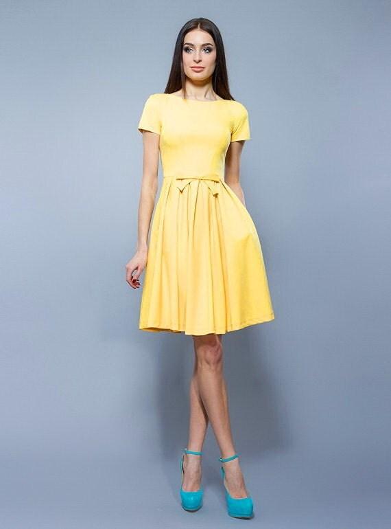 Elegant yellow dress, Folds dress , Cocktail dress, Summer dress, Dress knee length, Youth dress, Short sleeve, Short dress bridesmaid.