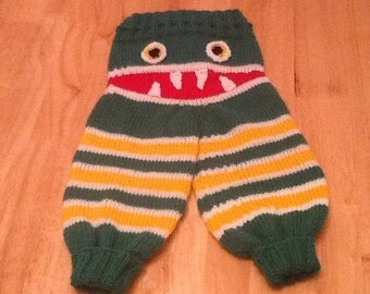 Hand knitted Monster Bitey Bum leggings for babies and toddlers