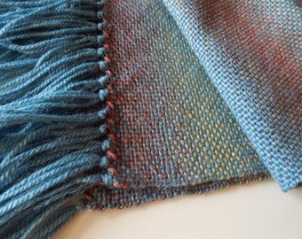 Handwoven alpaca wrap, woven wool scarf, womans woven scarf, handwoven wrap, blue yellow red scarf, womens wrap, winter scarf, autumn scarf