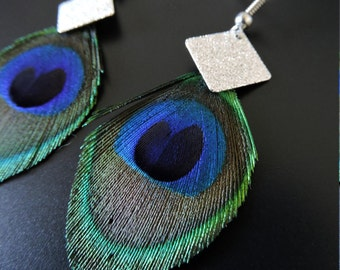 Earrings Peacock feather / Peacock feathers earrings