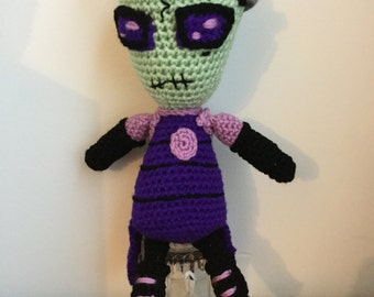 Made to Order: Crochet Amigurumi Green Girl Alien with Purple Eyes Doll